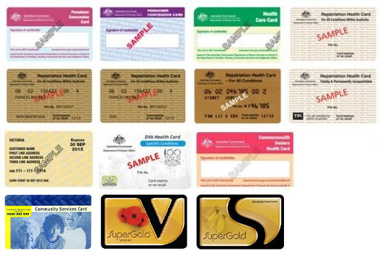 Eligible concession cards for concession